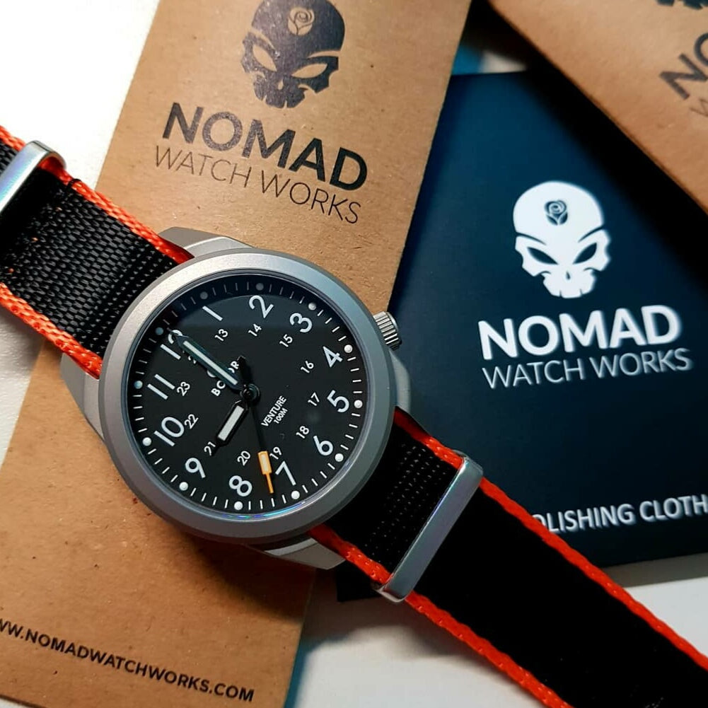 Seat Belt Nato Strap in Black with Orange Accent with Brushed Silver Buckle (20mm) - Nomad Watch Works Malaysia