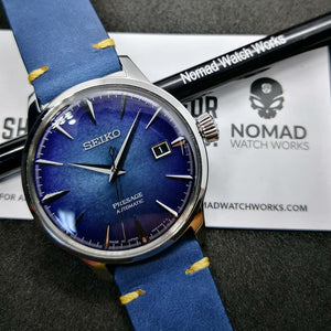 Premium Vintage Calf Leather Watch Strap in Blue (20mm) - Nomad Watch Works Malaysia
