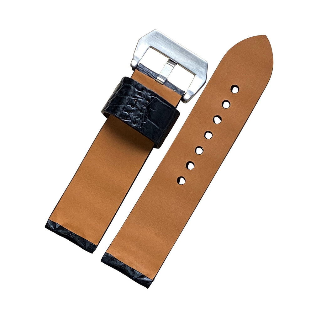 Exotic Crocodile Leather Watch Strap in Black Hornback (24mm) - Nomad Watch Works Malaysia