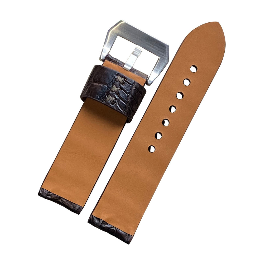 Exotic Crocodile Leather Watch Strap in Brown Hornback (24mm) - Nomad Watch Works Malaysia
