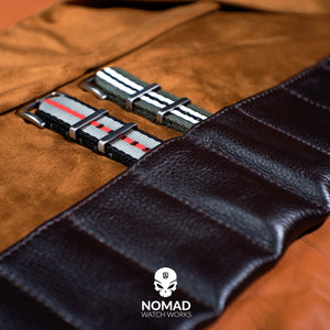 Leather Strap Roll in Brown (10 Slots) - Nomad Watch Works Malaysia