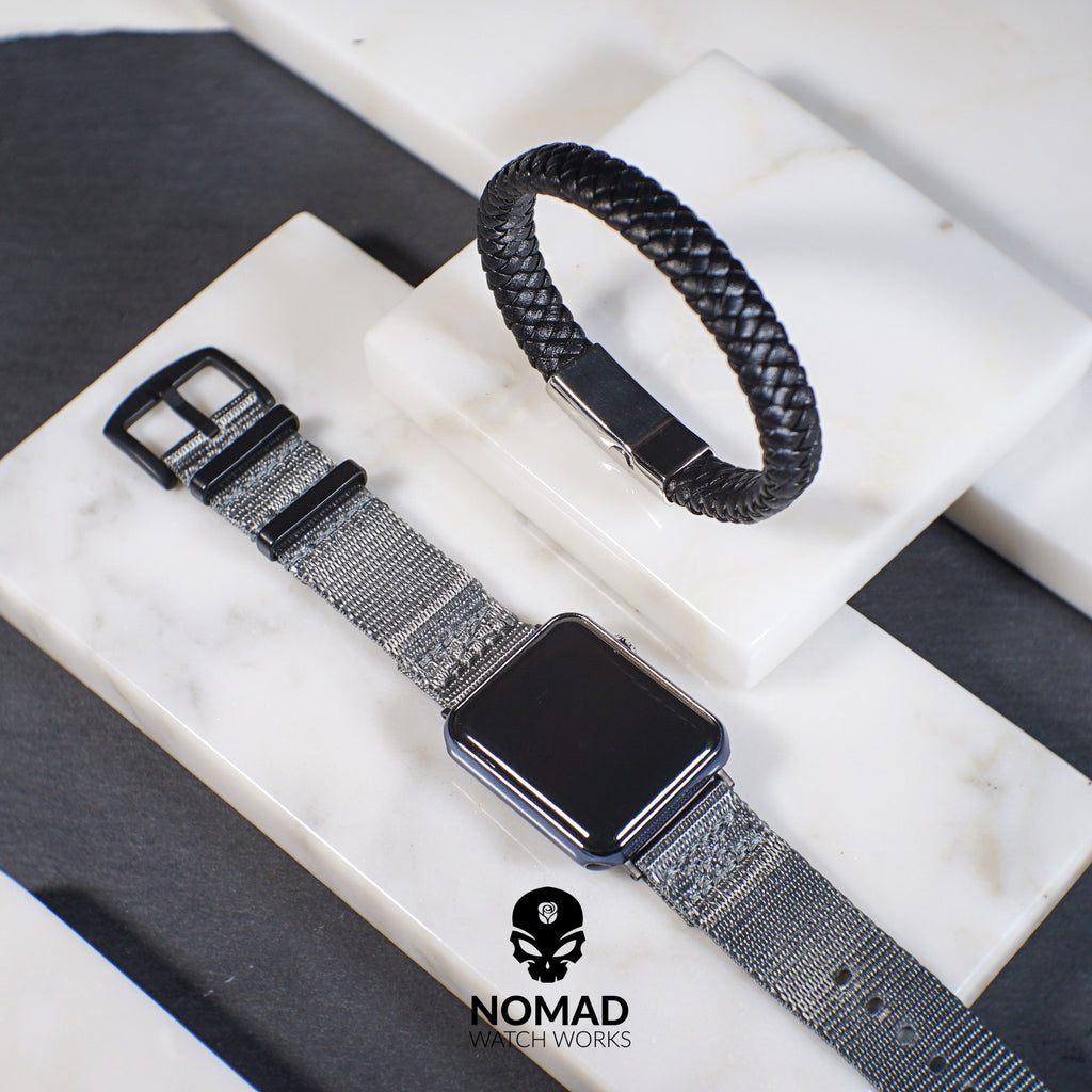 Chester Leather Bracelet in Black (Size M) - Nomad Watch Works Malaysia
