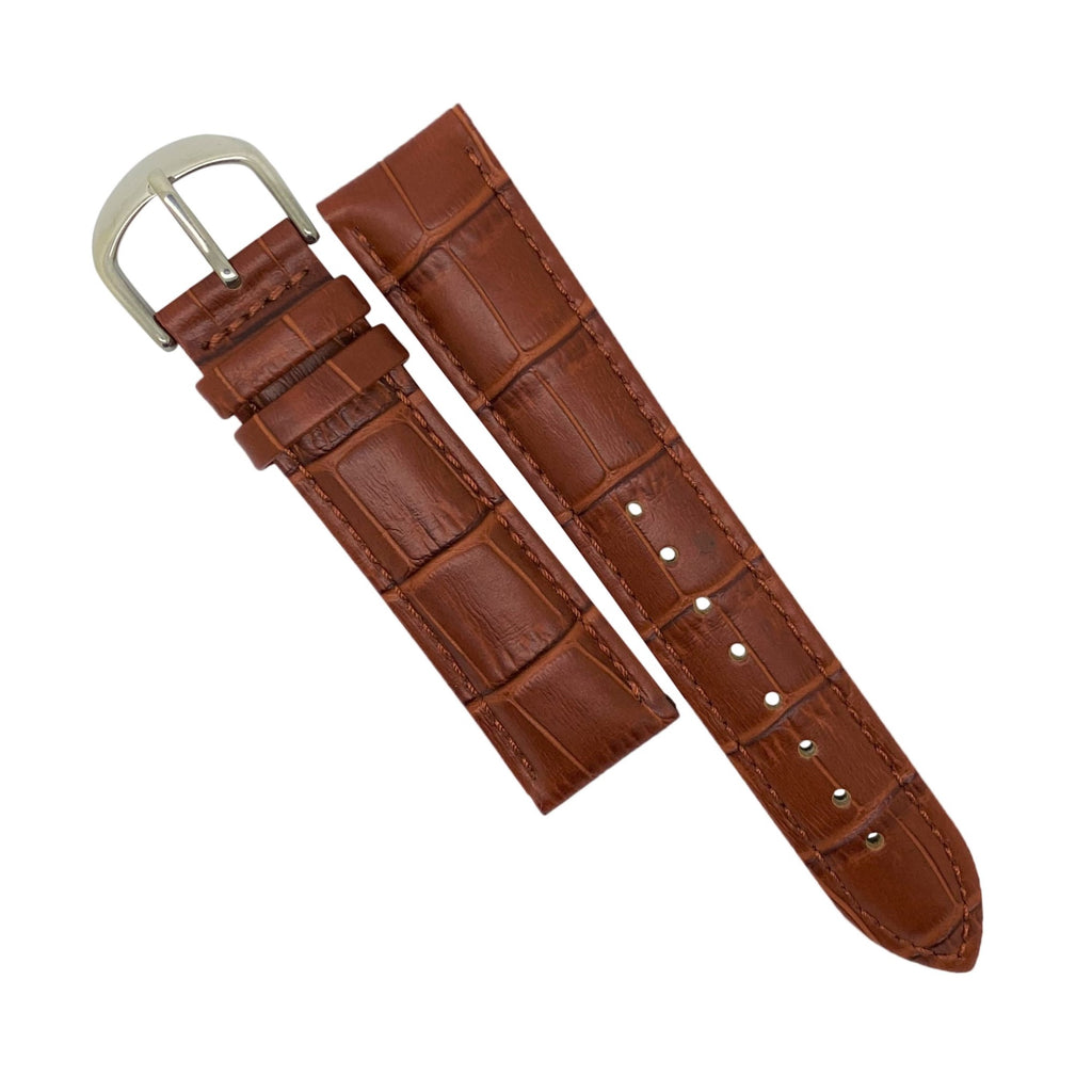 Genuine Croc Pattern Stitched Leather Watch Strap in Tan with Silver Buckle (19mm) - Nomad Watch Works Malaysia