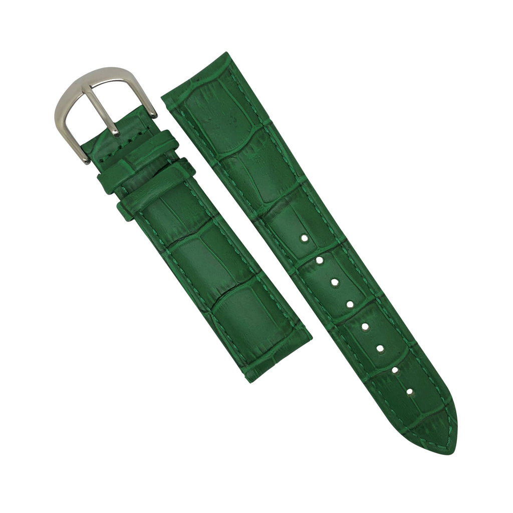Genuine Croc Pattern Stitched Leather Watch Strap in Green with Silver Buckle (12mm) - Nomad Watch Works Malaysia