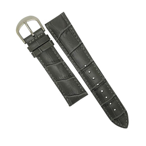 Genuine Croc Pattern Stitched Leather Watch Strap in Grey with Silver Buckle (16mm) - Nomad Watch Works Malaysia