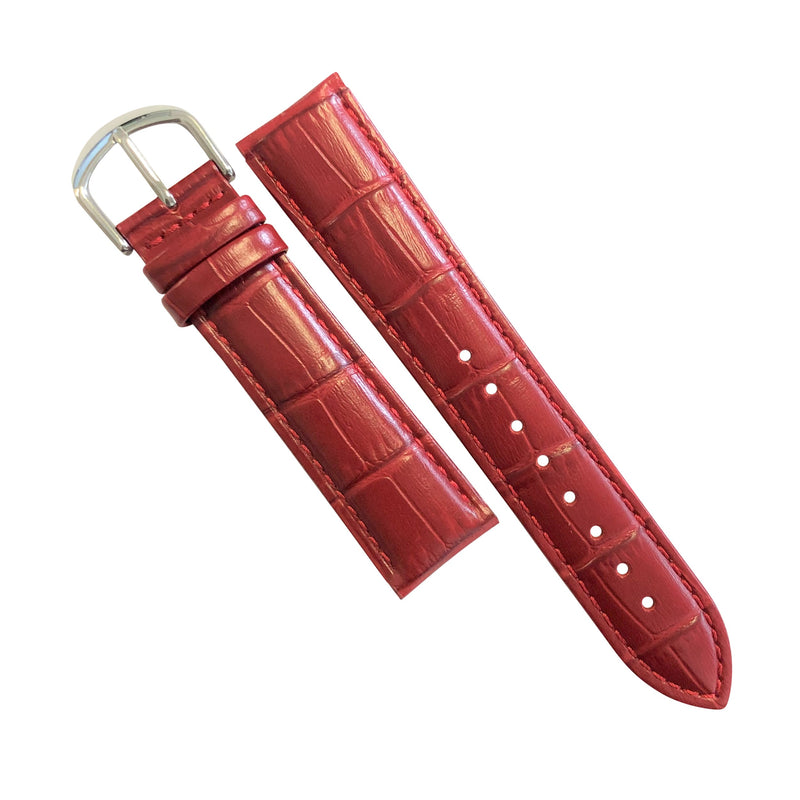 Genuine Croc Pattern Stitched Leather Watch Strap in Red with Silver Buckle (16mm) - Nomad Watch Works Malaysia