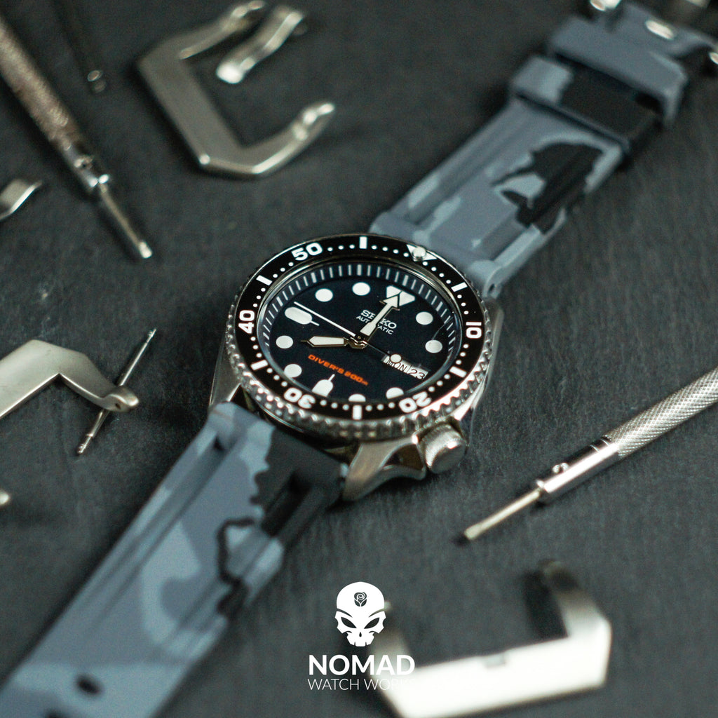 V3 Silicone Strap in Grey Camo (20mm) - Nomad Watch Works Malaysia