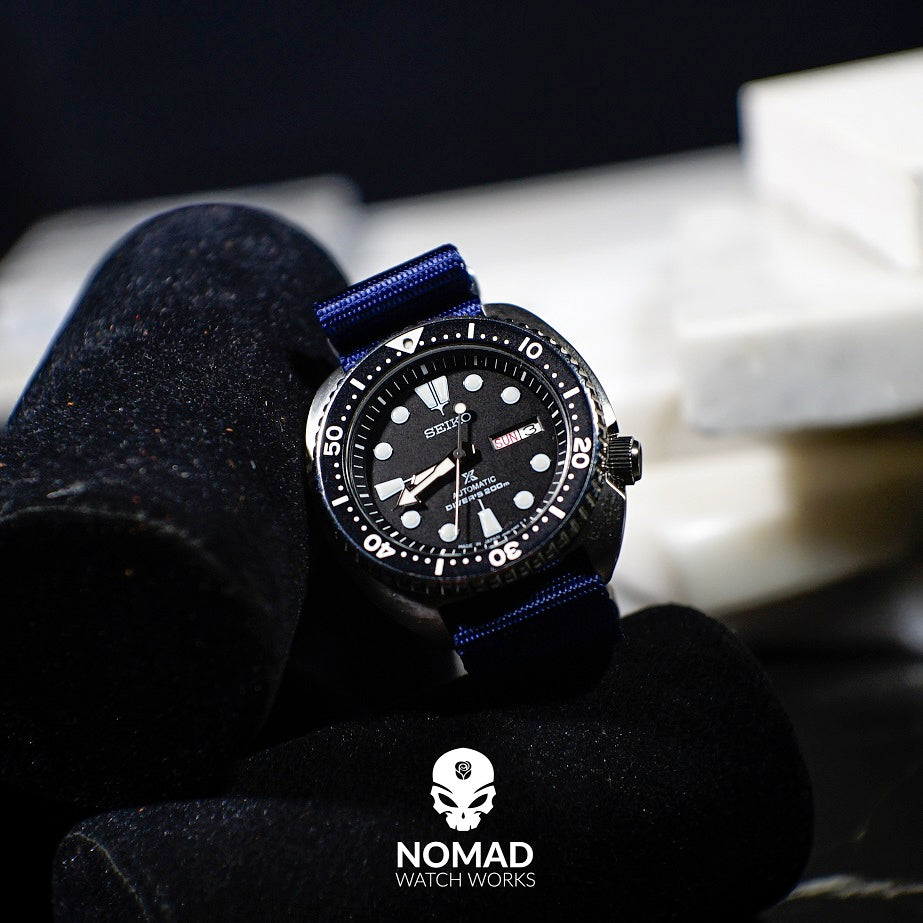 Seat Belt Nato Strap in Navy with Brushed Silver Buckle (22mm) - Nomad Watch Works Malaysia