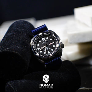 Seat Belt Nato Strap in Navy with Brushed Silver Buckle (20mm) - Nomad Watch Works Malaysia