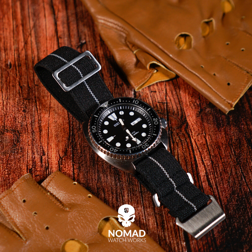 Marine Nationale Strap in Black Grey with Silver Buckle (22mm) - Nomad Watch Works Malaysia