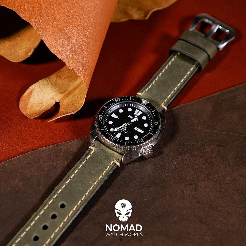 M1 Vintage Leather Watch Strap in Olive (22mm) - Nomad Watch Works Malaysia