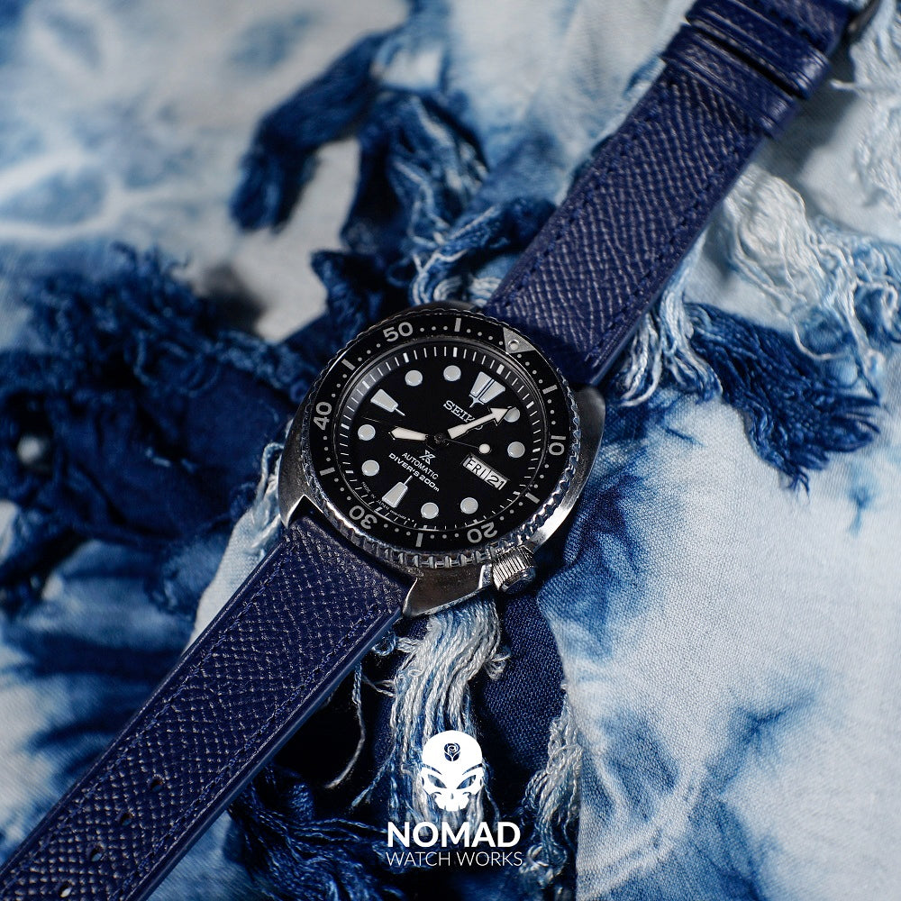 Emery Dress Epsom Leather Strap in Navy (20mm) - Nomad Watch Works Malaysia