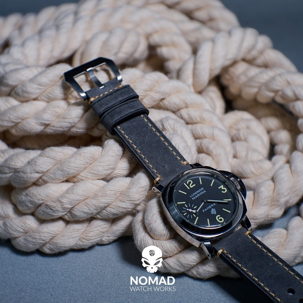 M1 Vintage Leather Watch Strap in Grey (20mm) - Nomad Watch Works Malaysia