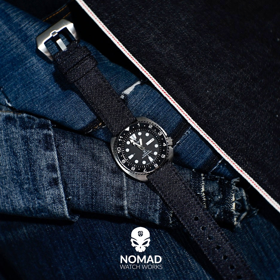 Japanese Dry Denim Strap in Indigo (24mm) - Nomad Watch Works Malaysia