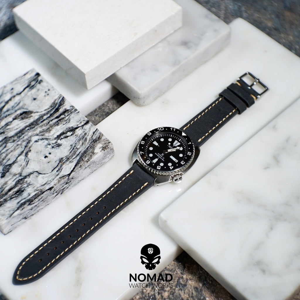 Quick Release Modern Leather Watch Strap in Grey (22mm) - Nomad Watch Works Malaysia