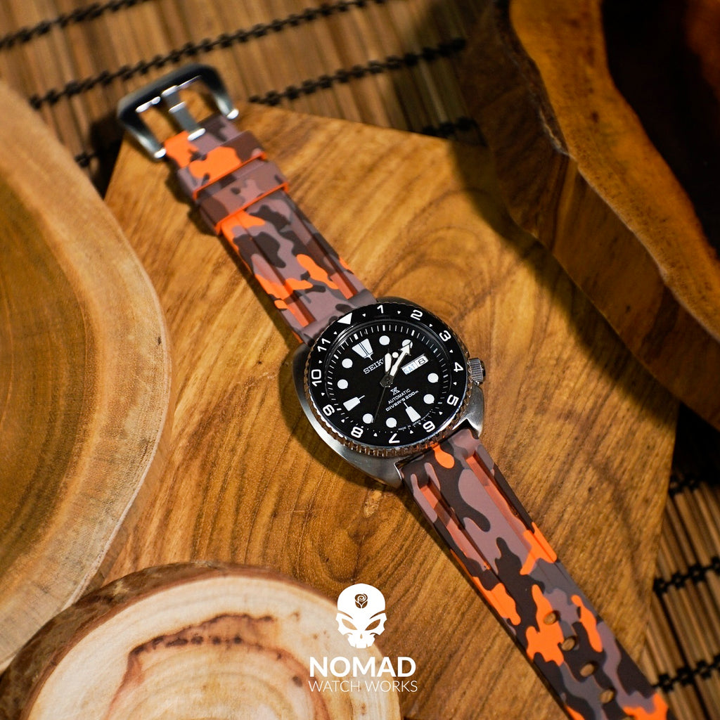 V3 Silicone Strap in Orange Camo (22mm) - Nomad Watch Works Malaysia
