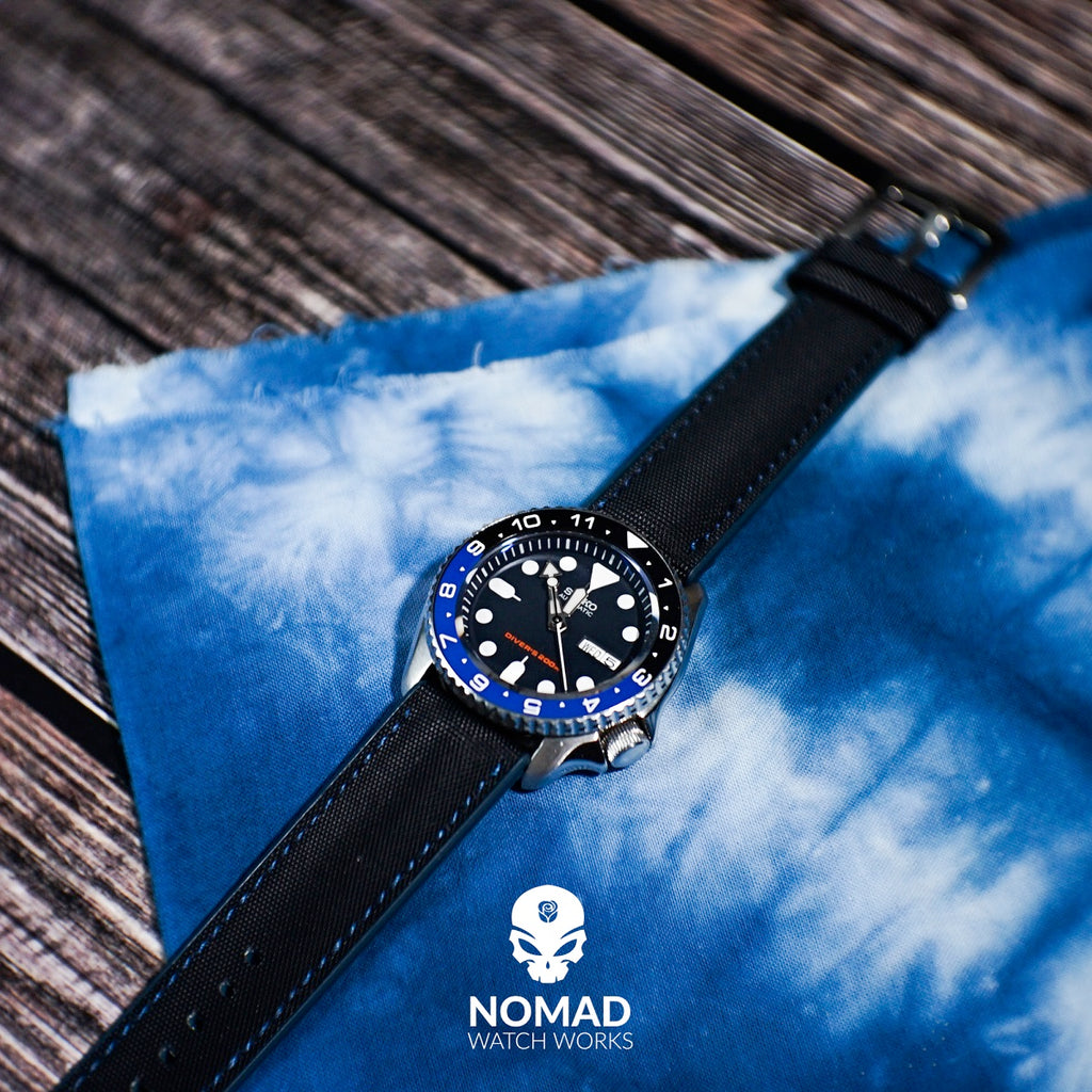 Performax N1 Hybrid Strap in Black with Blue Stitching (20mm) - Nomad Watch Works Malaysia