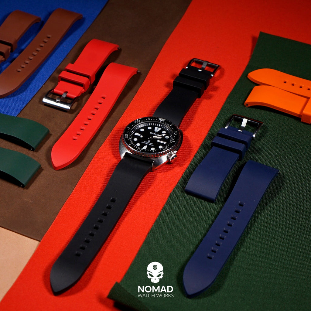 FKM Rubber Strap in Black (22mm) - Nomad Watch Works Malaysia
