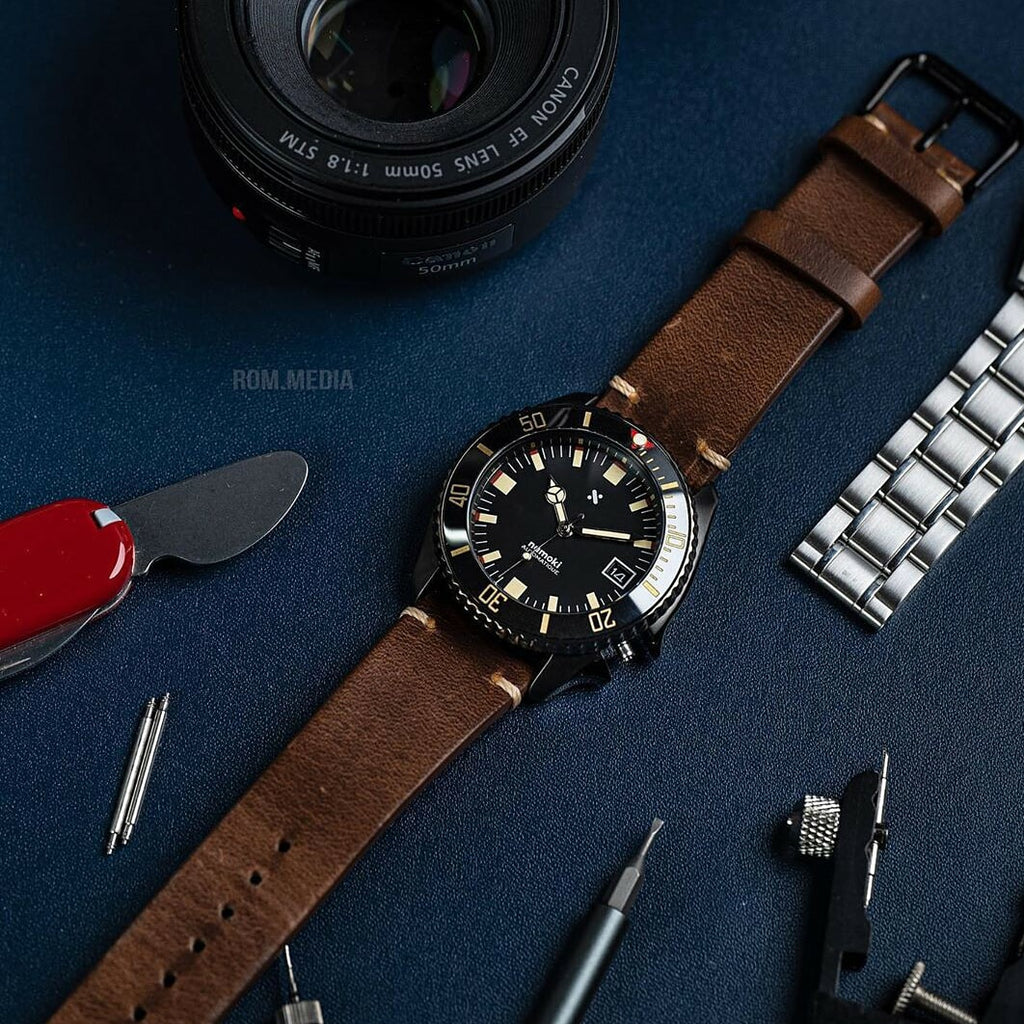 N2W Vintage Horween Leather Strap in Chromexcel® Brown (22mm) - Nomad Watch Works Malaysia