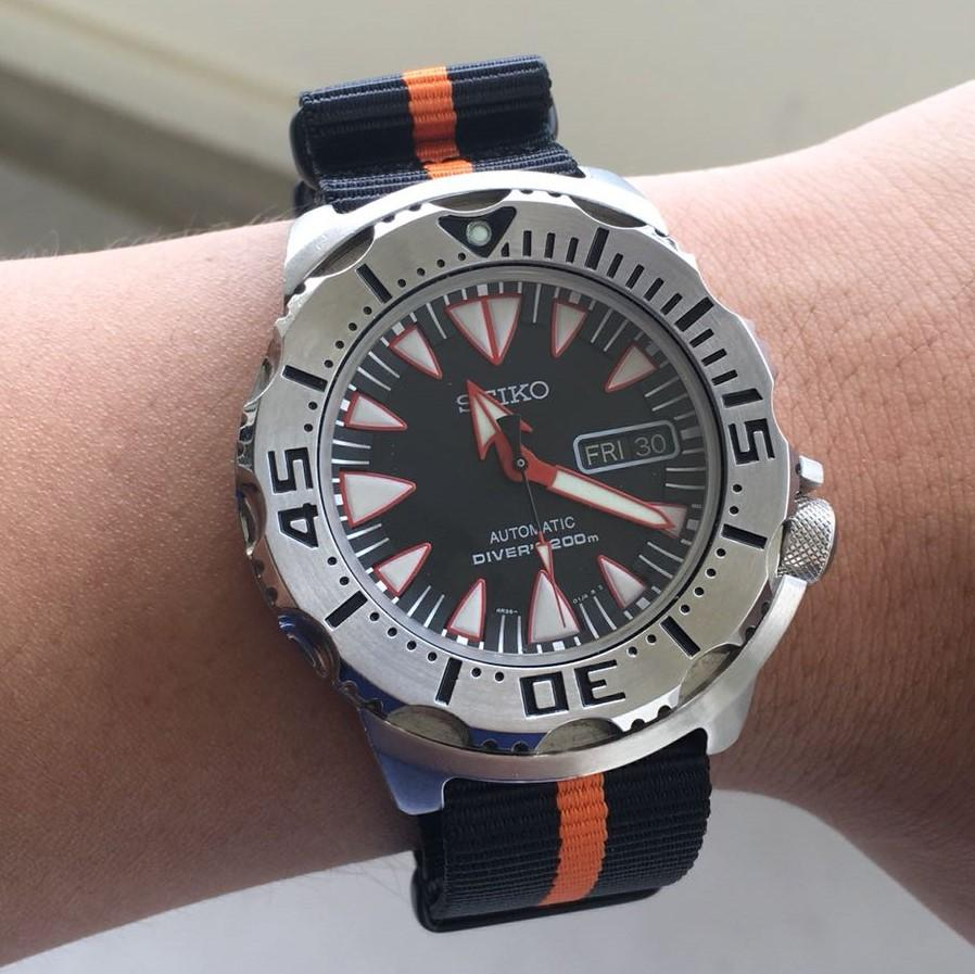 Premium Nato Strap in Black Orange with PVD Black Buckle (18mm) - Nomad Watch Works Malaysia