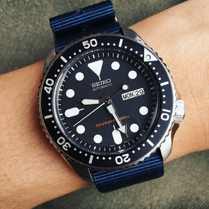 Premium Nato Strap in Navy with Polished Silver Buckle (18mm) - Nomad Watch Works Malaysia