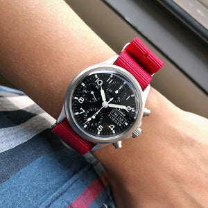 Premium Nato Strap in Red with PVD Black Buckle (18mm) - Nomad Watch Works MY