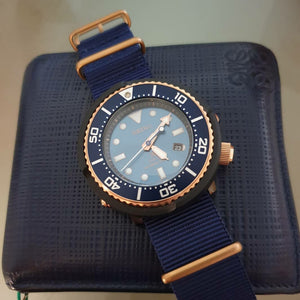 Premium Nato Strap in Navy with Bronze Buckle (24mm) - Nomad Watch Works Malaysia