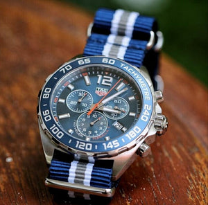 Premium Nato Strap in Navy White Grey (Crest) with Polished Silver Buckle (20mm) - Nomad Watch Works Malaysia