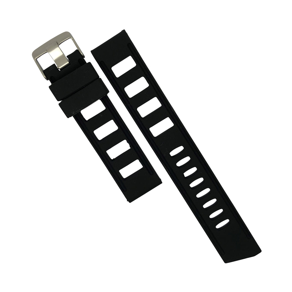 Iso Rubber Strap in Black with Silver Buckle (20mm) - Nomad Watch Works Malaysia