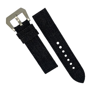 Japanese Dry Denim Strap in Black (24mm) - Nomad Watch Works Malaysia