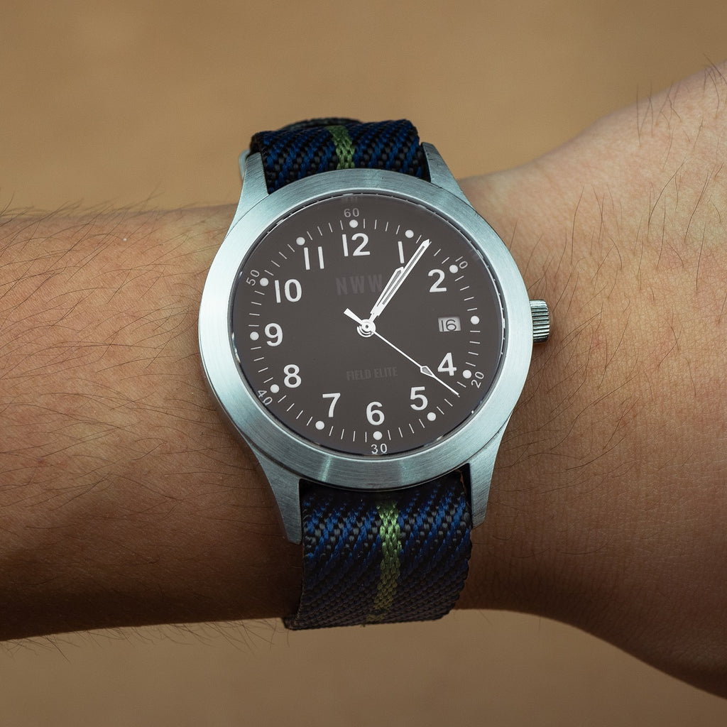 Lux Single Pass Strap in Navy Green with Silver Buckle (22mm) - Nomad Watch Works Malaysia