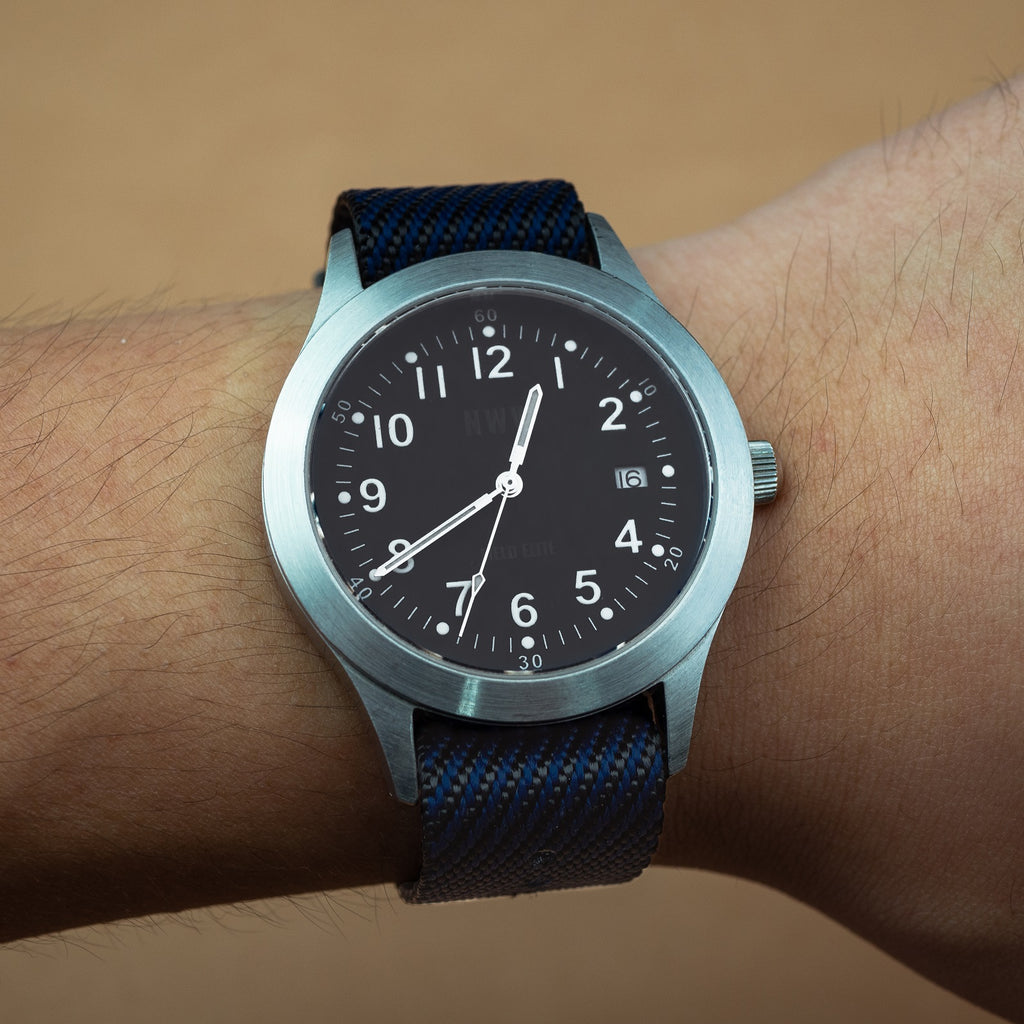 Lux Single Pass Strap in Navy with Silver Buckle (20mm) - Nomad Watch Works Malaysia