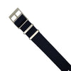 Lux Single Pass Strap in Navy with Silver Buckle (22mm) - Nomad Watch Works Malaysia