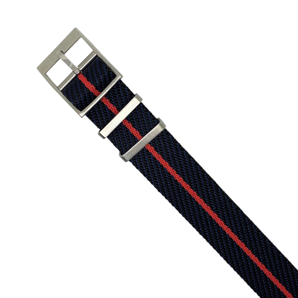 Lux Single Pass Strap in Navy Red with Silver Buckle (20mm) - Nomad Watch Works Malaysia