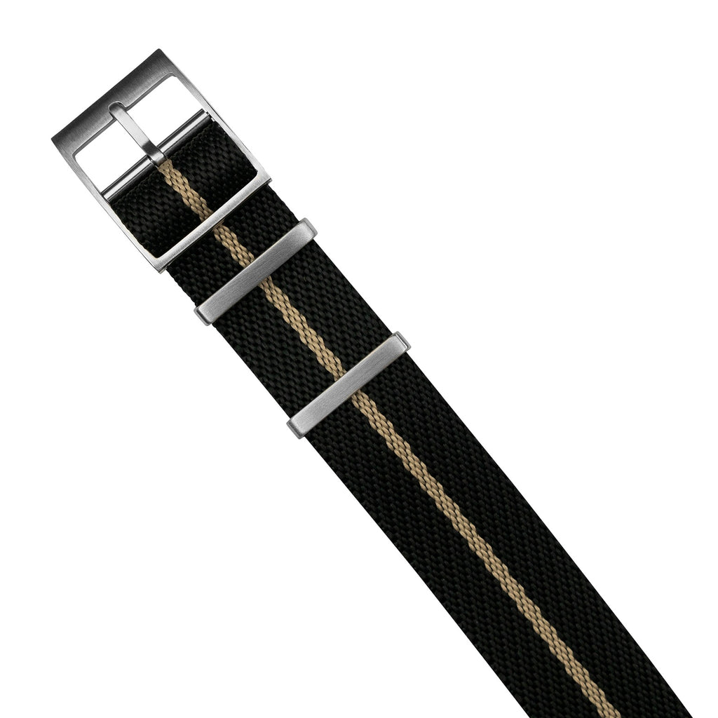Lux Single Pass Strap in Black Sand with Silver Buckle (20mm) - Nomad Watch Works MY