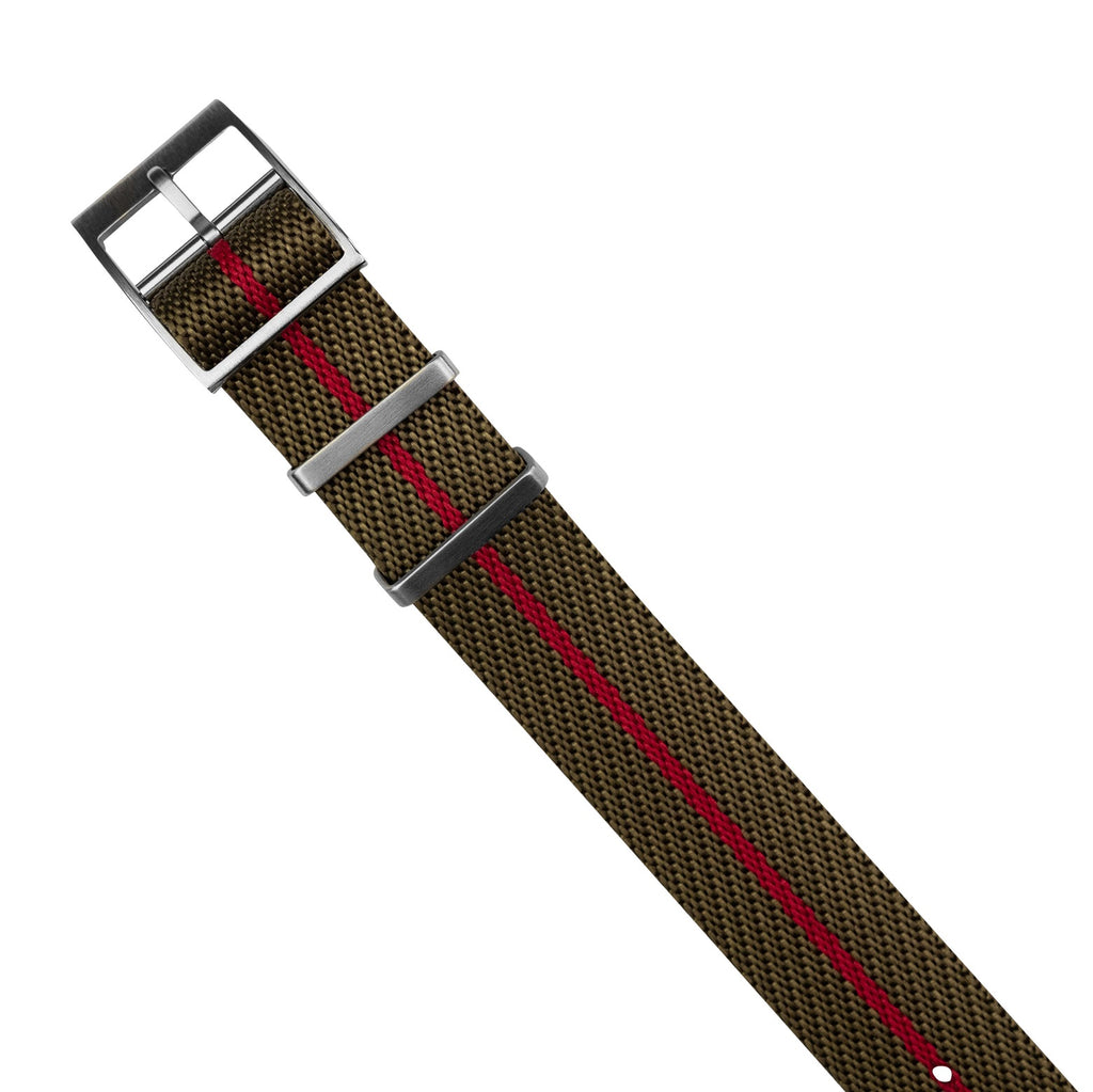 Lux Single Pass Strap in Khaki Red with Silver Buckle (20mm) - Nomad Watch Works MY