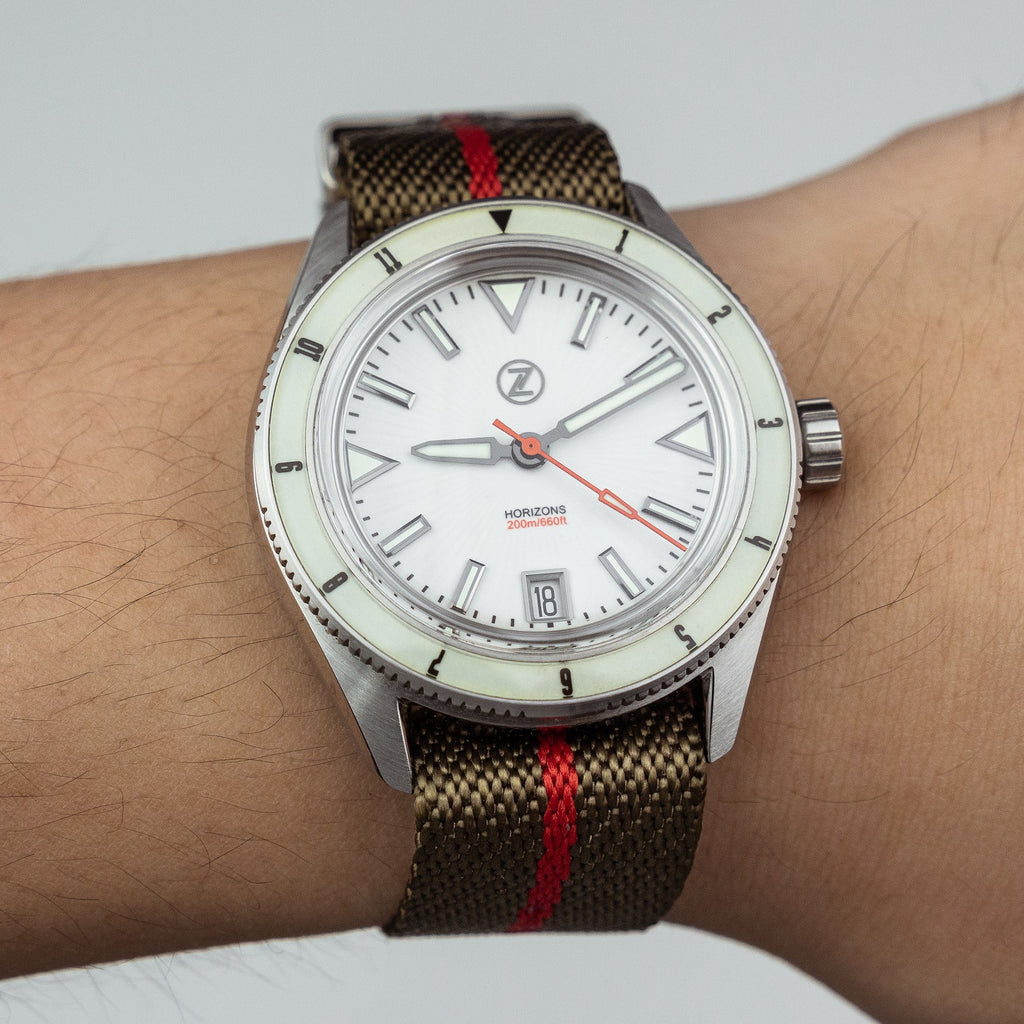 Lux Single Pass Strap in Khaki Red with Silver Buckle (22mm) - Nomad Watch Works MY