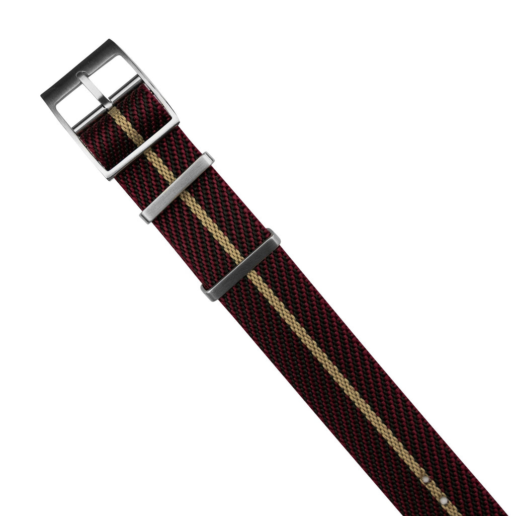 Lux Single Pass Strap in Burgundy Sand with Silver Buckle (20mm) - Nomad Watch Works MY