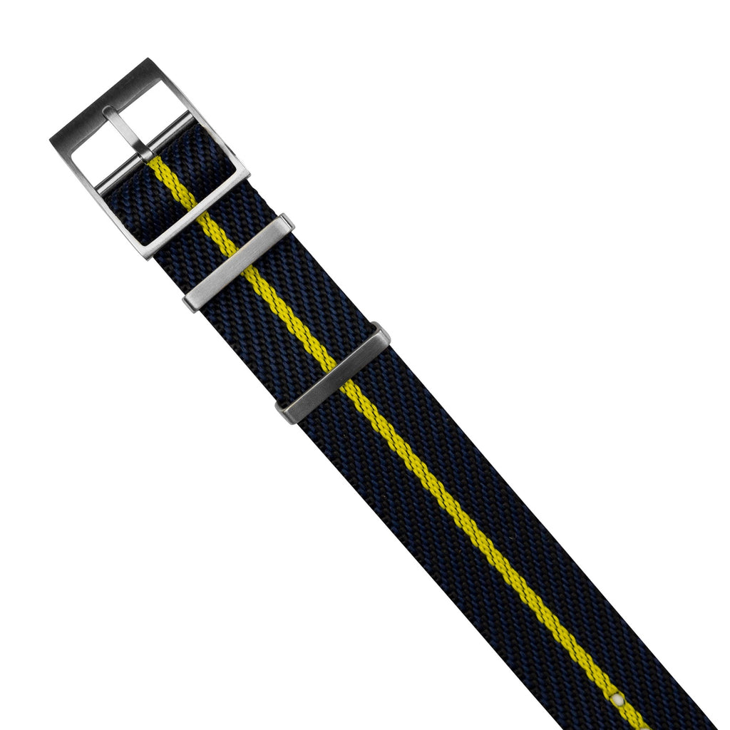 Lux Single Pass Strap in Navy Yellow with Silver Buckle (20mm) - Nomad Watch Works MY