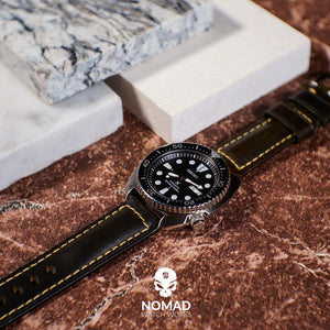 M2 Oil Waxed Leather Watch Strap in Olive with Silver Buckle (20mm) - Nomad Watch Works Malaysia