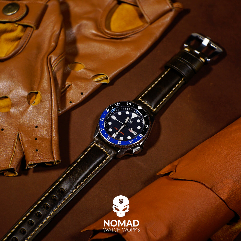 M2 Oil Waxed Leather Watch Strap in Black with Pre-V Silver Buckle (24mm) - Nomad Watch Works Malaysia