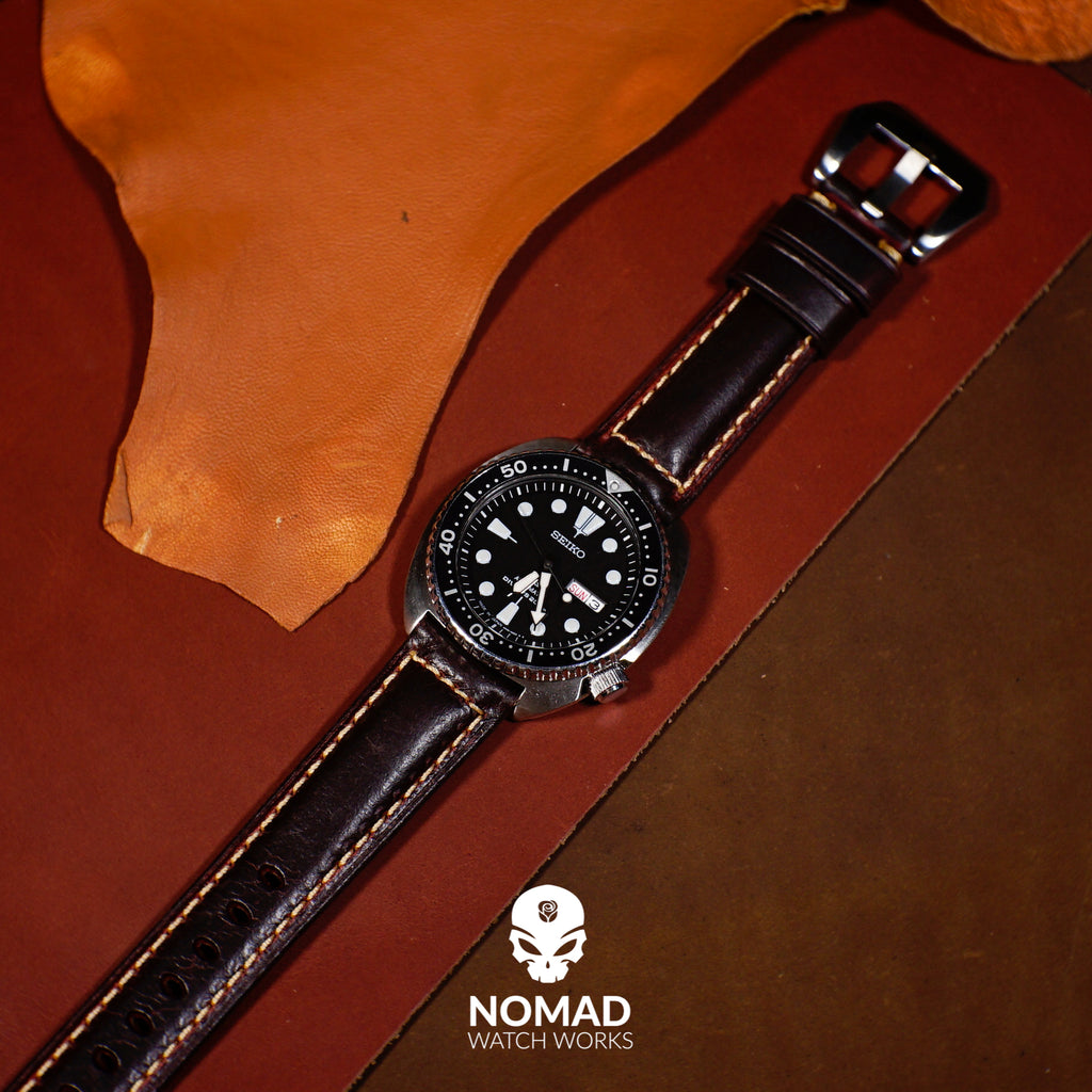 M2 Oil Waxed Leather Watch Strap in Maroon with Pre-V Silver Buckle (22mm) - Nomad Watch Works Malaysia