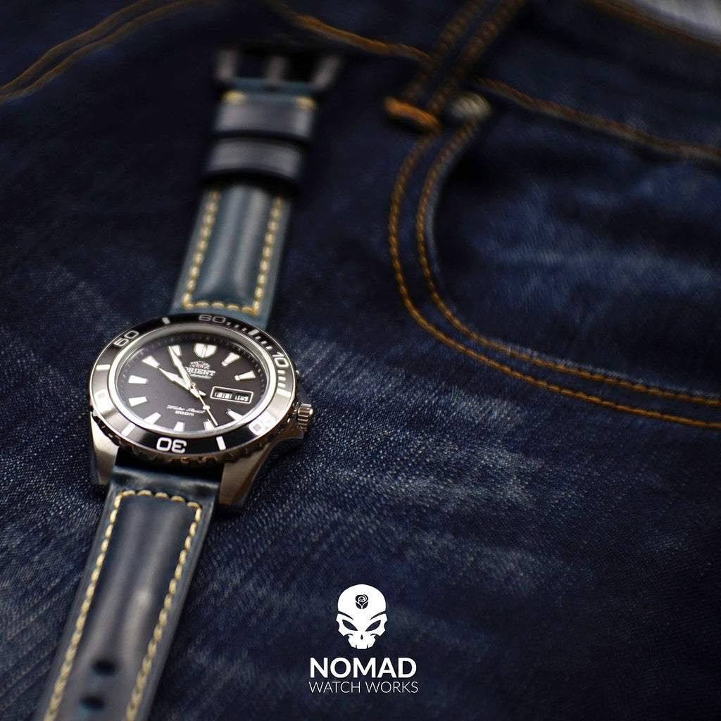 M2 Oil Waxed Leather Watch Strap in Navy with Pre-V Silver Buckle (22mm) - Nomad Watch Works Malaysia