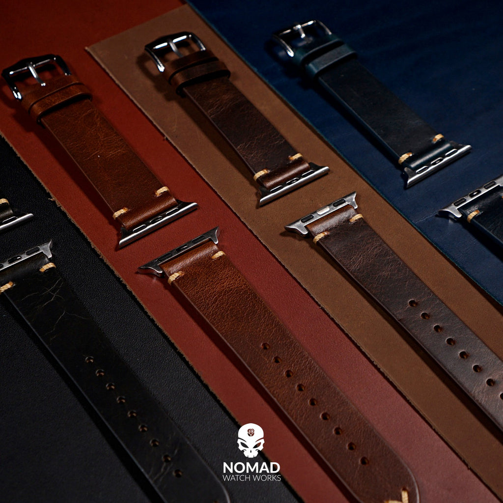 Apple Watch Premium Vintage Oil Waxed Leather Strap in Brown with Silver Buckle (38 & 40mm) - Nomad Watch Works Malaysia