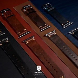 Apple Watch Premium Vintage Oil Waxed Leather Strap in Tan with Silver Buckle (42 & 44mm) - Nomad Watch Works Malaysia