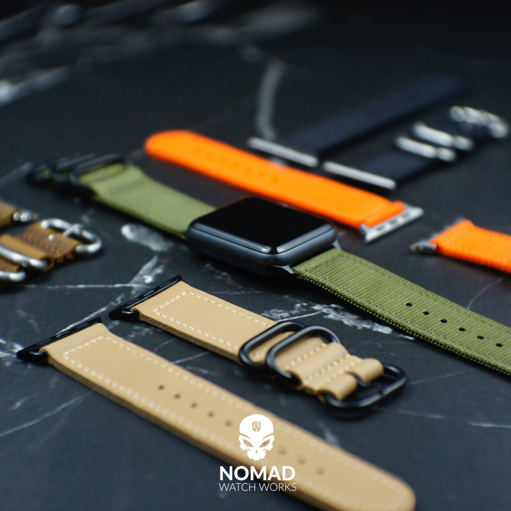 Apple Watch Nylon Zulu Strap in Orange with Silver Buckle (42 & 44mm) - Nomad Watch Works Malaysia