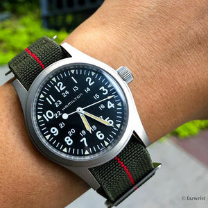 Marine Nationale Strap in Olive Red with Silver Buckle (20mm) - Nomad Watch Works Malaysia