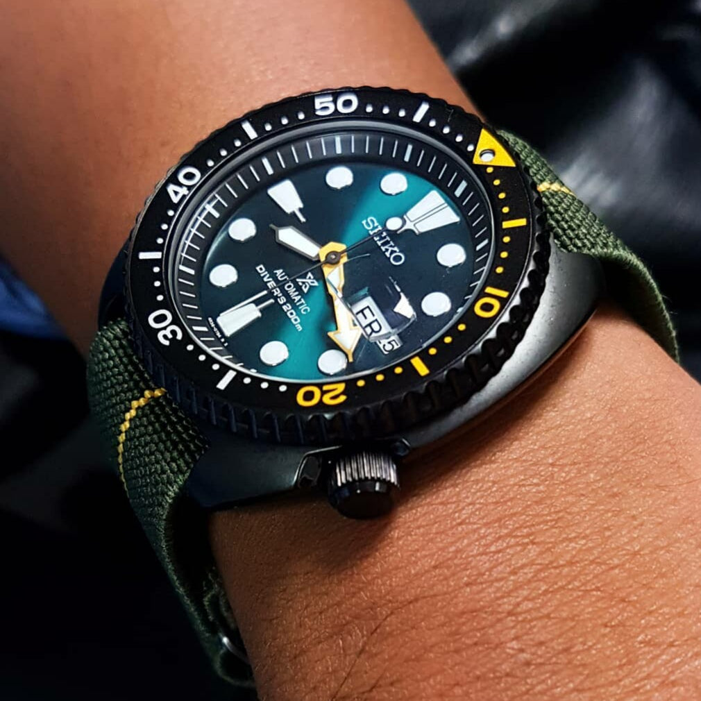 Marine Nationale Strap in Olive Yellow with Black Buckle (22mm) - Nomad Watch Works Malaysia