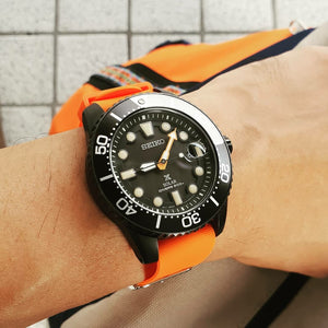 Rubber Nato Strap in Orange with Silver Buckle (22mm) - Nomad Watch Works Malaysia