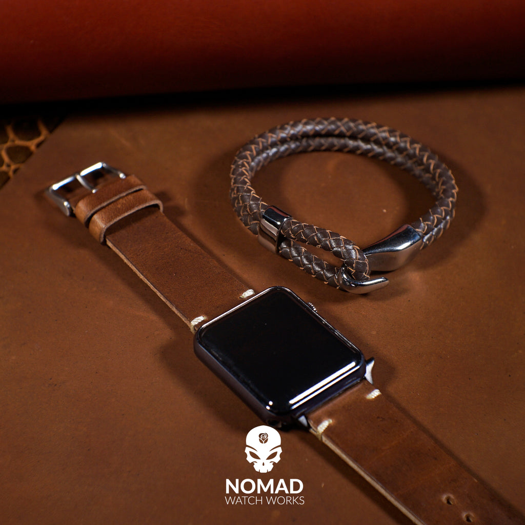 Oxford Leather Bracelet in Brown (Size L) - Nomad Watch Works Malaysia
